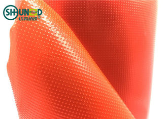 Warna Merah Bordir Kain Backing 100% LDPE Lem Hot Melt Fusible Film Untuk Bordir Komputer