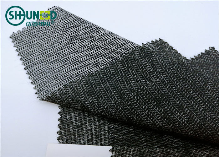 Eco Friendly Woven Interlining Fabric PES Fusible Weft Insert Napping For Overcoat