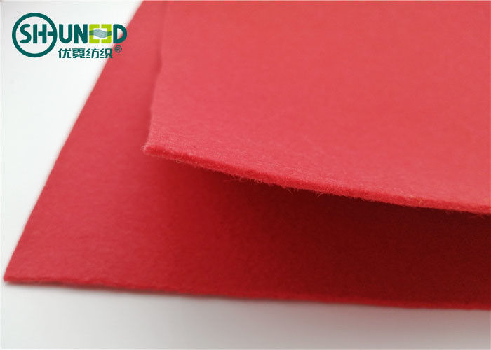 Red Non Woven Needle Punch Needle Fabric Felt Pad For Floor Folding Screen