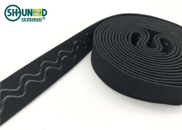 Anti-slip silicone gripper elastic tape for bra strip and sport cloth with logo printing